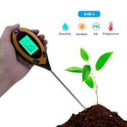 4 w 1 cyfrowy ph metr Monitor wilgotności gleby temperatura Tester światła słonecznego dla roślin ogrodniczych rolnictwo narzędzie ogrodnicze|Mierniki pH|Narzędzia -