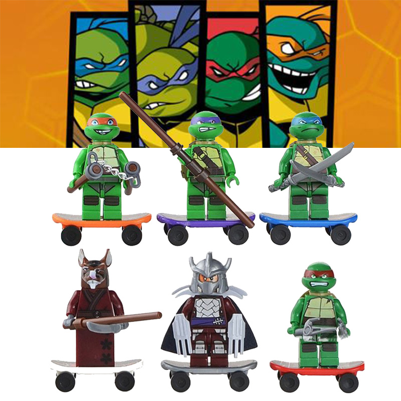 6Pcs/Set Leonardo Raphael Michelangelo Donatello Turtles Cartoon Character Building Blocks Compatible For Child
