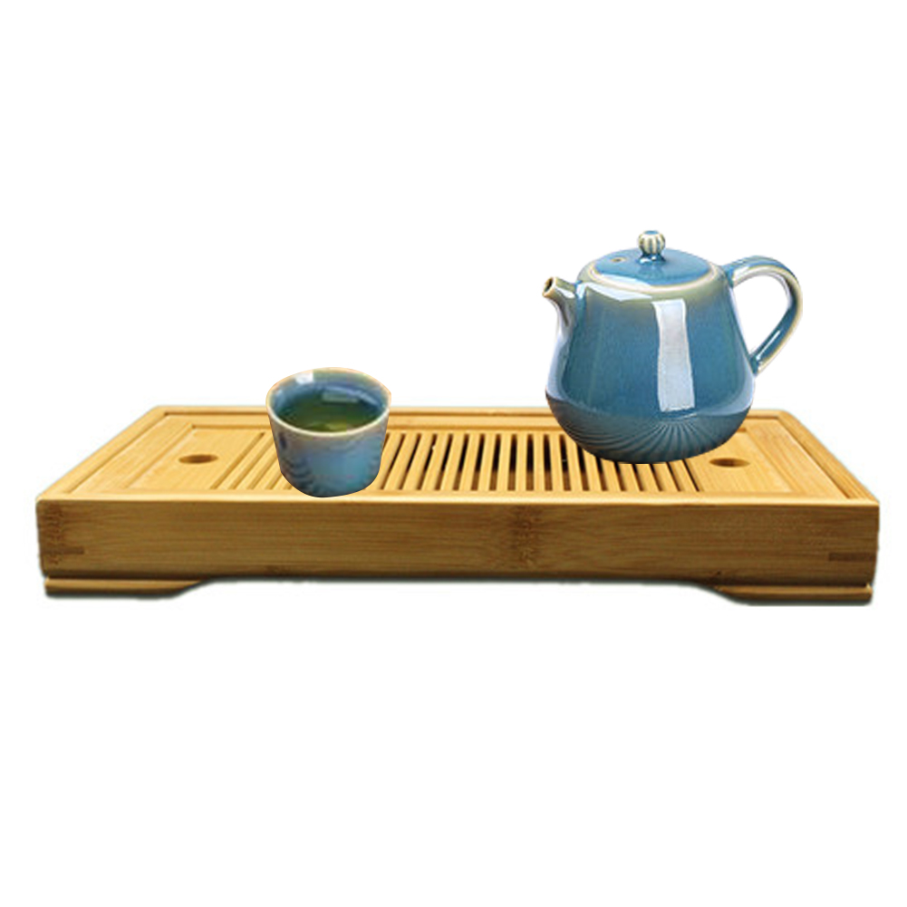 Office Durable Bamboo Serving Table Tea Tray Rectangular Home Water Storage Accessories Saucer Easy Clean With Drain Rack Small