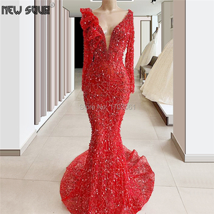 Image 2 - Greatly Gatsby Handmade Beading Evening Dresses For Wedding 2020 kaftans Couture Dubai Long Crystal Women Party Prom Dress Gowns