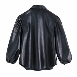New design za PU faux leather Womens Blouses Shirts puff sleeve autumn Womens tops and blouses streetwear korean Camisa Blusas 6