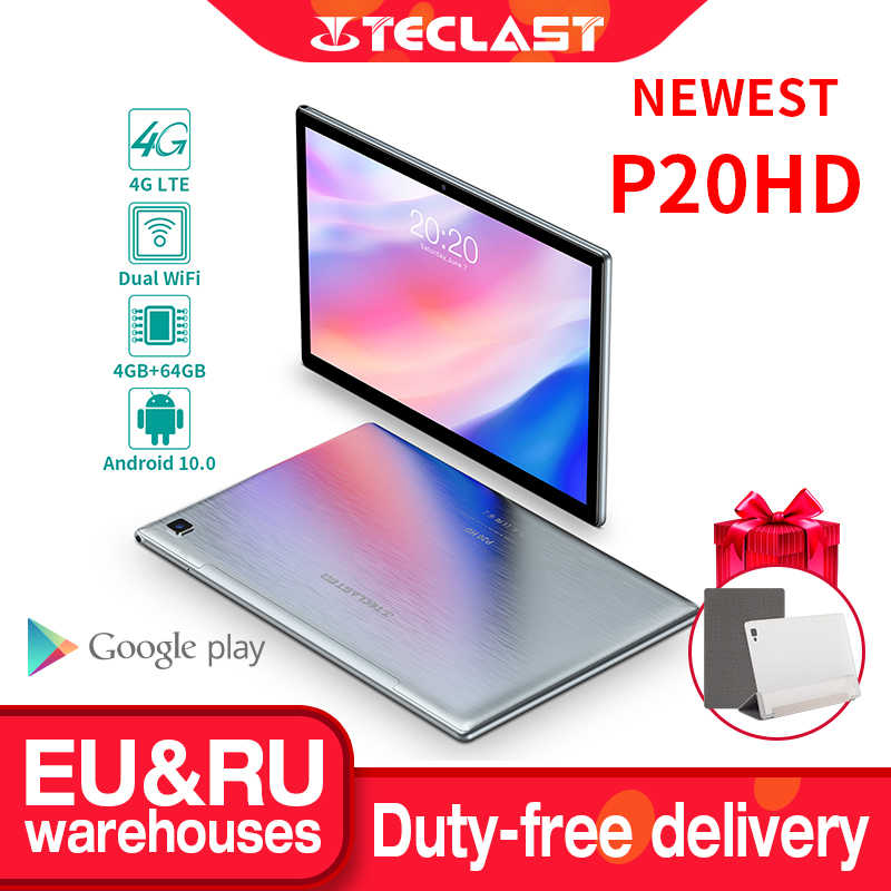 "Teclast P20HD 10.1 ""Android 10 Tablet 1920x1200 SC9863A Octa Core 4GB RAM 64GB ROM 4G Netzwerk AI Speed-up Tabletten PC Dual Wifi"