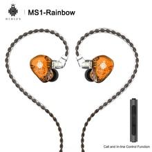 Hidizs ms1 arco íris de alta fidelidade diafragma dinâmico áudio in ear monitor fone de ouvido iem com cabo destacável 2pin 0.78mm conector