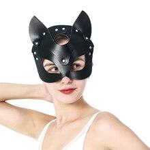 Mask Half-Face-Mask Fetish Cat Woman Cosplay Rhinestone Party Halloween Sexy Shiny Bdsm
