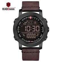 KADEMAN Роскошные Спортивные Цифровые мужские часы, армейские военные часы с подсчетом шагов, водонепроницаемые наручные часы с кожаным ремешком, Лидирующий бренд, мужские наручные часы, Relogio