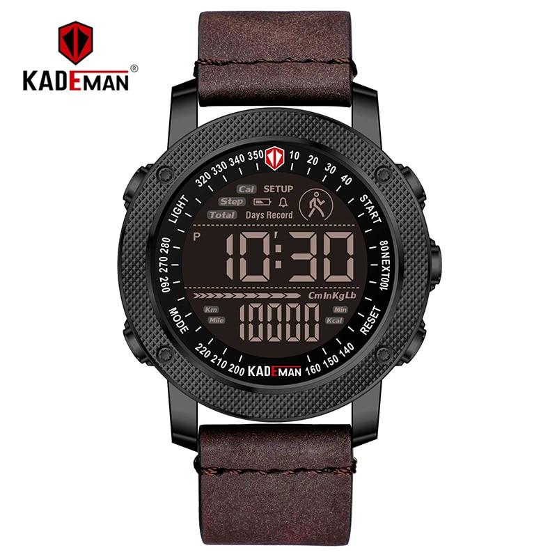 KADEMAN Luxury Sports Digital Men Watch Army Military Step Count Waterproof Leather Hand Clock Top Brand Male Wristwatch Relogio