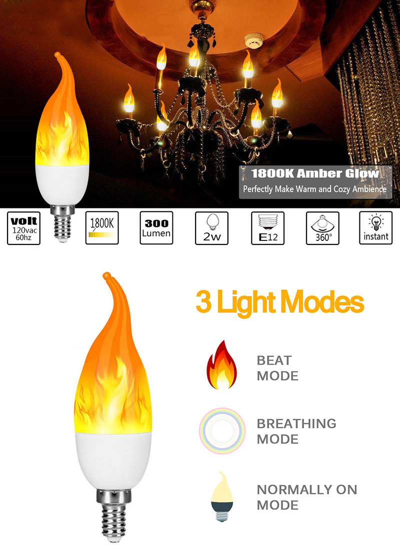 FLAME LIGHT E27 E14 9W Full Model LED Flame Bulb Candle Lamp 85-265V LED Flame Effect Fire Light Bulb Flickering Emulation Decor