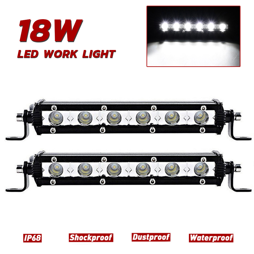 7Inch 18W LED Spot Light Bar Slim Single Row Offroad Fog Lamp Car SUV Truck Motorcycle