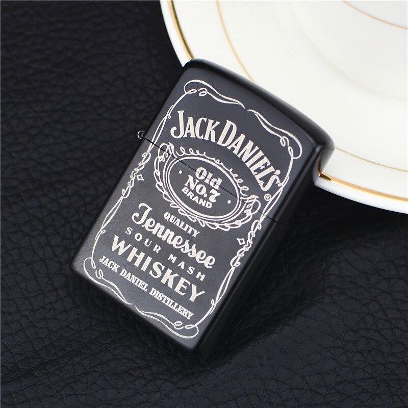 Jack Danny Lighter Wine Label Metal Kerosene Black Electrophoresis Grinding Wheel Open Flame Creative Cigarette Accessories