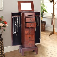 Wood Jewelry Cabinet Armoire Storage Box Chest Stand Chain Organizer Retro Cabinet with 6 Drawers and Top Mirrors HW52432