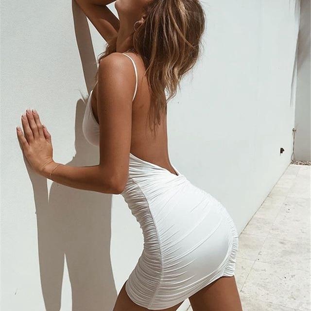 Hirigin Sexy Womens Summer Backless High Draped Slim Bandage Bodycon Evening Party Short Mini Dress 5