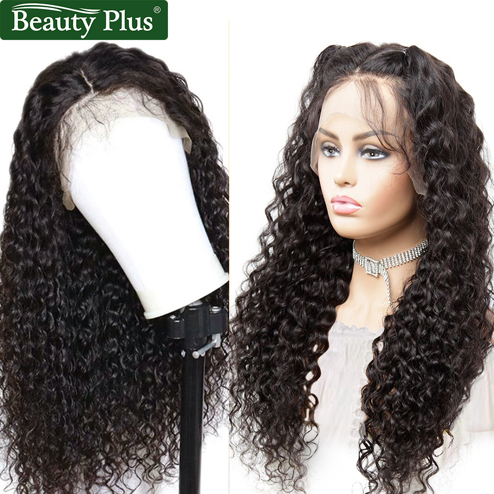 Water Wave 13x4 Lace Front Wig Peruvian Remy Hair Beauty Plus Natural Black Hair Preplucked Water Wave Lace Wigs