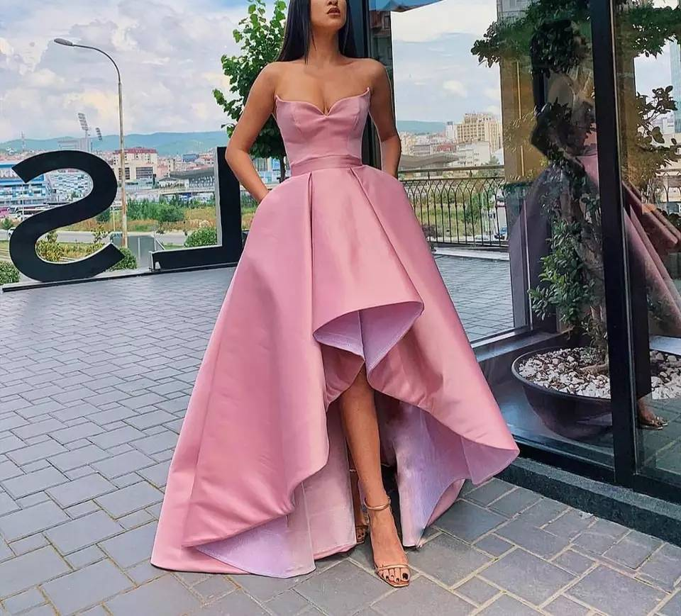 High-low Strapless Prom Party Evening Dresses Vestido De Noiva Sereia Gown Robe De Soiree Prom Party Simple Satin Lace-up