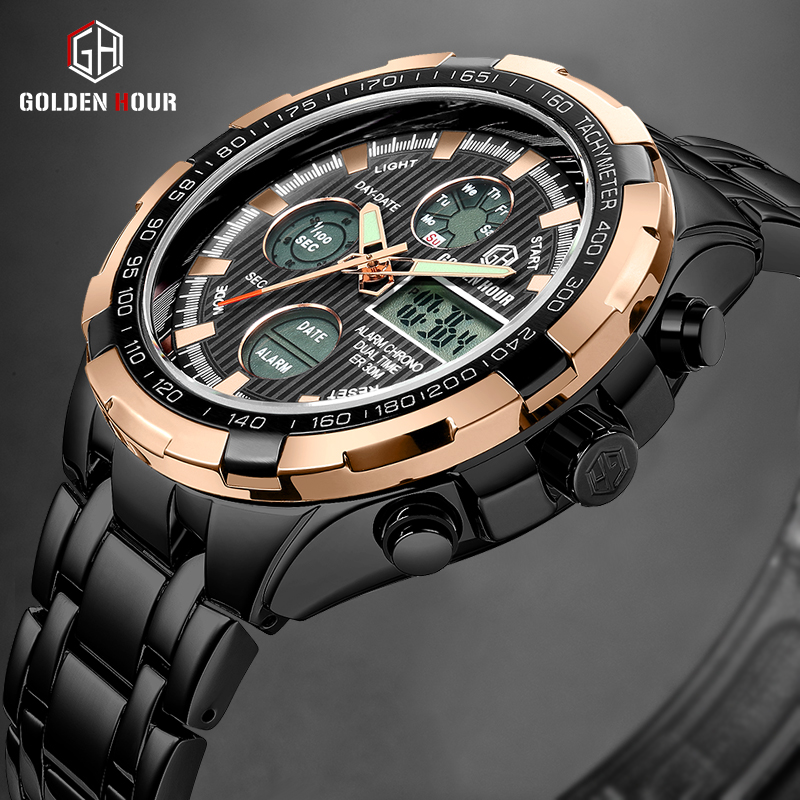 GOLDENHOUR Men's Luxury Business Quartz Watch Men Fashion Dual Display Stainless Steel Wristwatches Waterproof Sport Male Clock