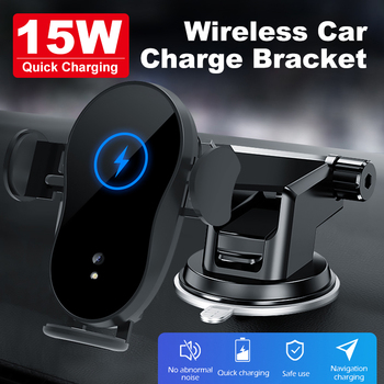 15W Car phone holder qi wireless charger for iPhone X Samsung S10 S9 S8 phone holder car phone power charger fast charger for glc wireless charger 15w power c class charger mobile phone fast charging adaptor2015 2019 c63 c180 c200 w205 car qi charger