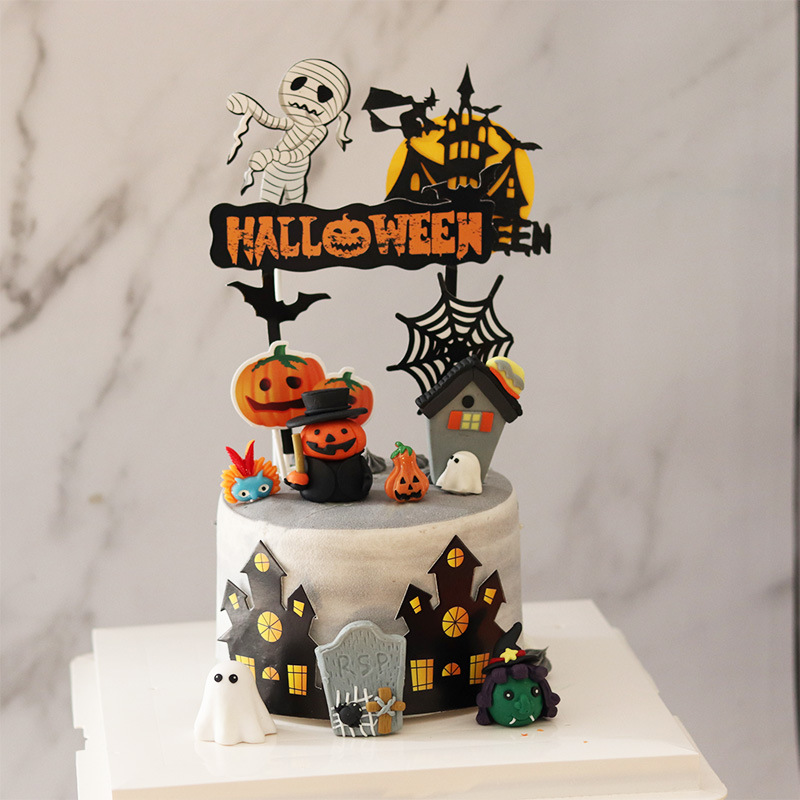 Halloween Cake Dress Up Halloween Cake Decoration Soft Pottery
