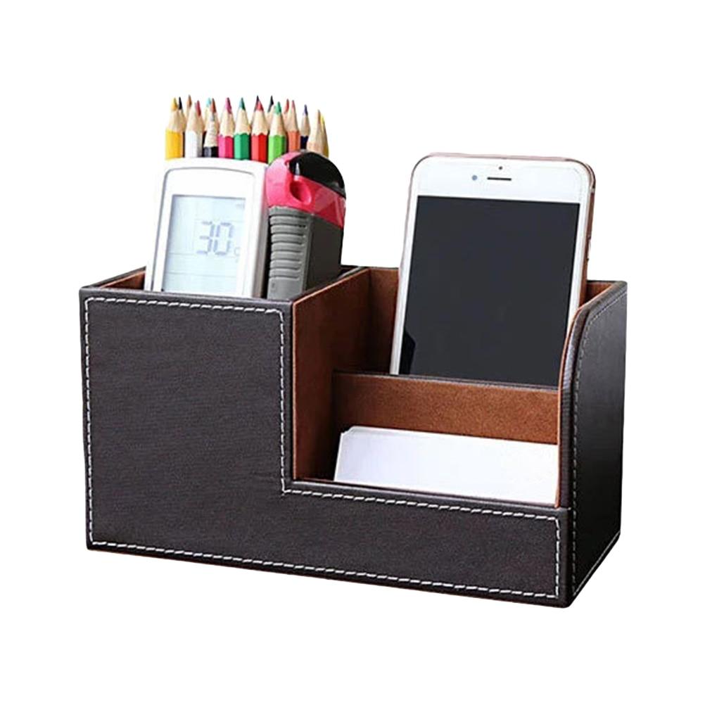 Leather Desk Office Organizer Storage Holder Desktop Pencil Pen Sundries Badge Box Stationery Office School Supplies