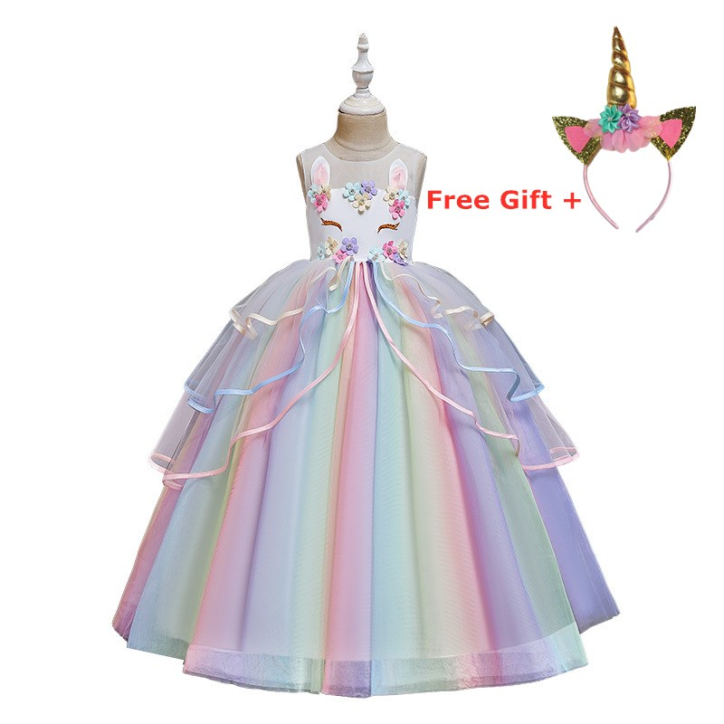New 2020 Fantasy Rainbow Unicorn Cosplay Girls Dress Licorne Long Gown Children Carnival Party Dresses For Girls Formal Clothes
