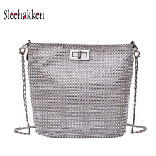 цены на Glitter crossbody bag Fashion Chain Bag Bucket Bag Single Shoulder Side Purse Messenger Bag  for Women and Girls sling bag  в интернет-магазинах