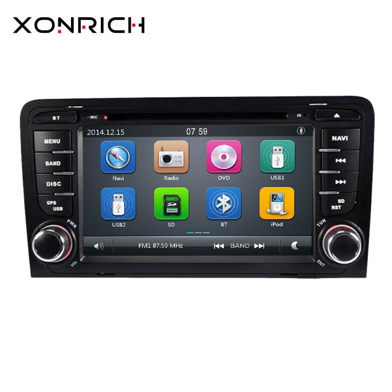 2 din AutoRadio voiture lecteur DVD unité de tête pour Audi A3 8P 2003-2012 S3 2006-2012 RS3 Sportback multimédia GPS Navigation stéréo BT