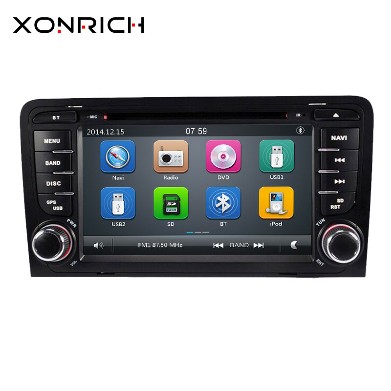 2 din AutoRadio Car DVD Player head unit For <font><b>Audi</b></font> <font><b>A3</b></font> 8P 2003-2012 S3 2006-2012 RS3 Sportback Multimedia GPS Navigation Stereo BT image