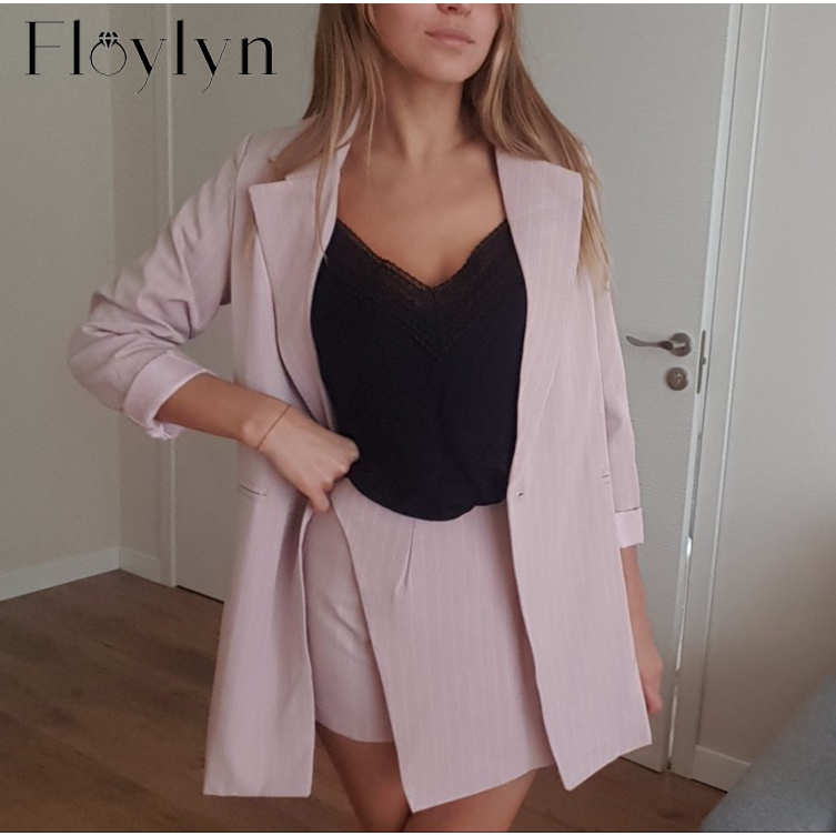 FloyLyn Women Skirt Suits One Button Notched Striped Blazer Jackets And Slim Mini Skirts Two Pieces OL Sets Female Outfits 2020