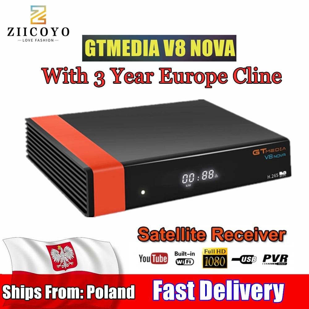 HD DVB S2 GTmedia V8 Nova Cccam Cline Satellite TV Receiver Built  in WIFI power by Freesat 3 Year Europe Cline(Ship from  Poland)Satellite TV Receiver