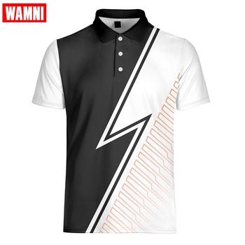 WAMNI tenis T koszula moda męska Gradient 3D koszulka młodzieżowa Casual Sport skręcić w dół kołnierz pasek męski z krótkim rękawem tanie i dobre opinie Poliester Pasuje większy niż zwykle proszę sprawdzić ten sklep jest dobór informacji Oddychające Sport Casual XXS-6XL