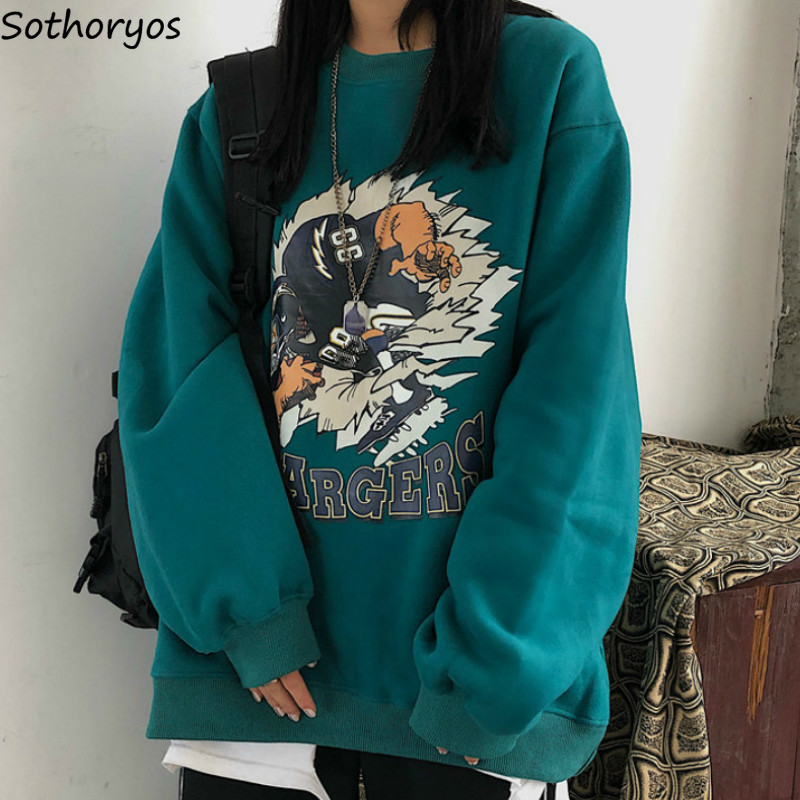 Women Hoodies Harajuku Plus Velvet Thicker Loose Korean Style Womens New Printed Fashion Kpop New Retro O-neck Casual Daily BF