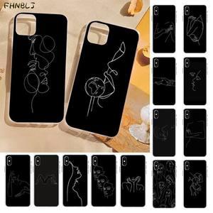 FHNBLJ Elegant Beauty Curved Line Soft black Phone Case for iPhone 8 7 6 6S Plus X 5S SE 2020 XR 11 pro XS MAX