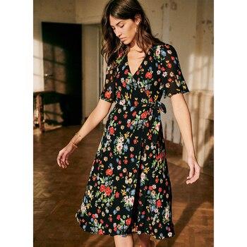 Lowest Price Courtney Wrap Midi Dress Women Summer Short Sleeve V Neck Floral Printed Chic Dresses Silk Vintage Casual Dress 2020 — stackexchange