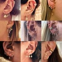 Vintage Tribal ethnique géométrique goutte balancent cerceau boucles d'oreilles ensemble petit foudre étoile lune Cactus oeil Cartilage boucles d'oreilles pour les femmes