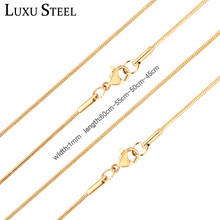LUXUSTEEL Women Men Snake Chain Necklaces Stainless Steel Gold/Silver Color Filled  Lobster Clasp Necklaces For Pendants