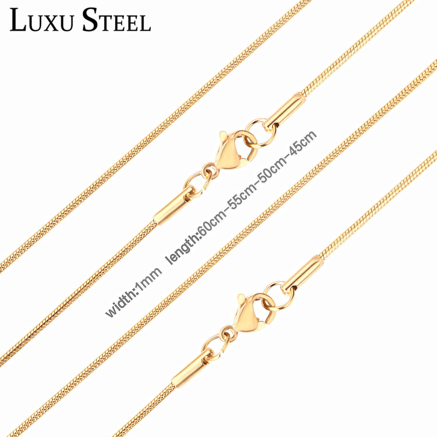 LUXUSTEEL Women Men Snake Chain Necklaces Stainless Steel Gold/Silver Filled Lobster Clasp Necklaces For Pendants Bijoux(China)