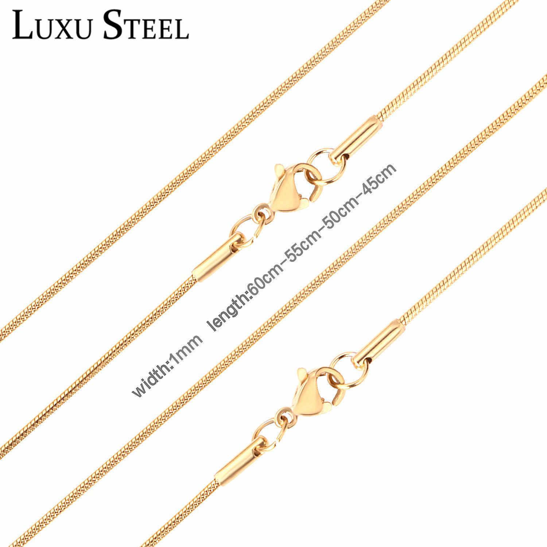 LUXUSTEEL النساء الرجال ثعبان سلسلة القلائد الفولاذ المقاوم للصدأ الذهب/الفضة اللون شغل مشبك قفل القلائد ل المعلقات بيجو