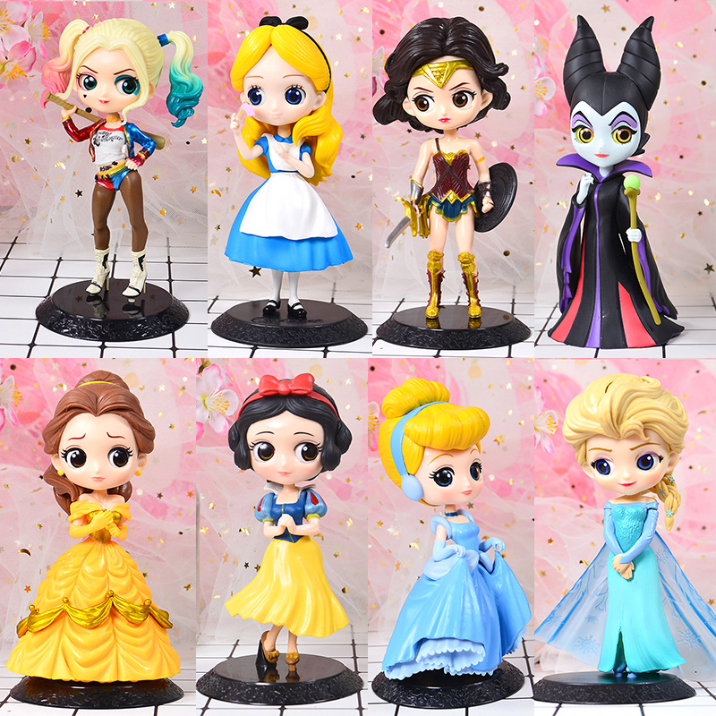 DISNEY Q Posket Princess Doll Ariel Tangled Rapunzel Elsa Anna Figure Toys Dolls Toys Cake Topper Cake Decor Birthday Party