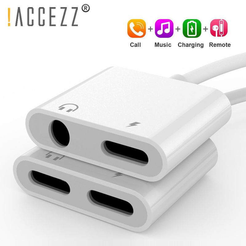 !ACCEZZ For <font><b>iPhone</b></font> <font><b>Adapter</b></font> 2 in 1 For Apple <font><b>iPhone</b></font> XS MAX XR X <font><b>7</b></font> 8 Plus IOS 12 3.5mm Jack Earphone <font><b>Adapter</b></font> Aux Cable Splitter image