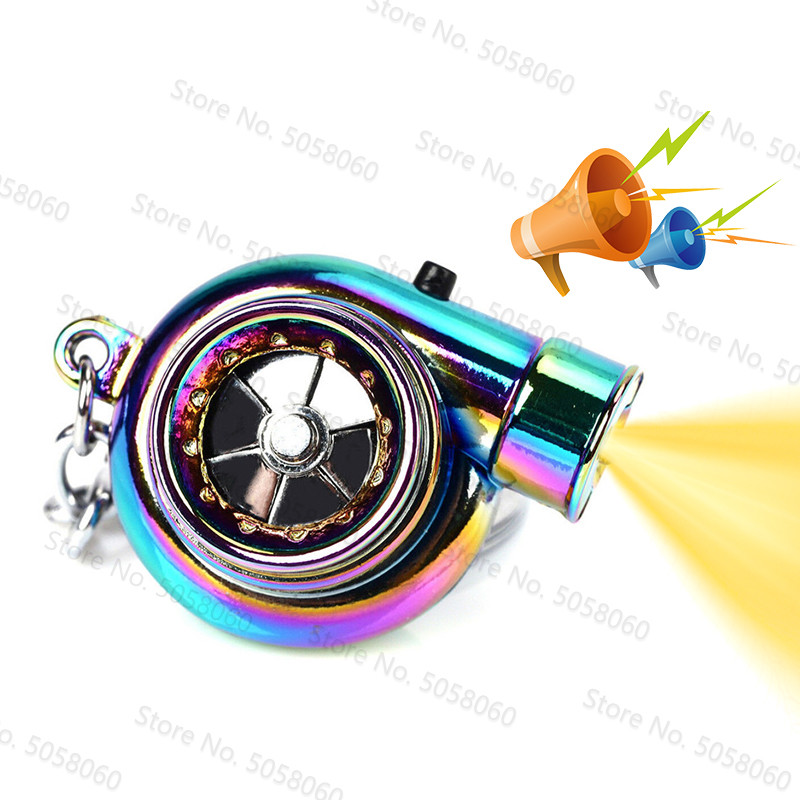 TTLIFE Turbo Keychain Led Light Mini Keyring Rainbow LED BOV Sound Turbocharger Keychain Turbo Gift Before Christmas Key Ring