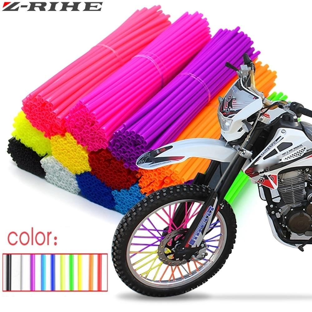 72pcs a set 24cm Motocross Dirt Bike Enduro Wheel RIM SPOKE Shrouds SKINS COVERS spoke coats for ATV KTM CRF230 V-storms