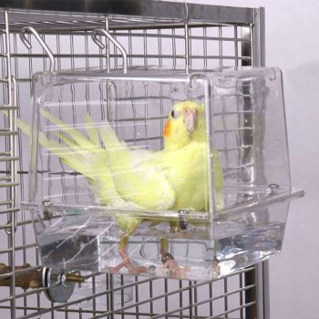 Double Hook Hanging Upgraded Bird Bath Cage Adjustable Large with Clear View Pet 4