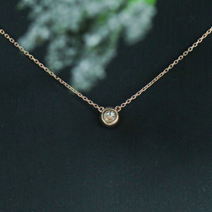 Image 3 - TransGems 14k Rose Gold Center 0.4ct 4.5MM F Color Moissanite Pendant Necklace for Women Chain Length 45CM Engagement Gifts