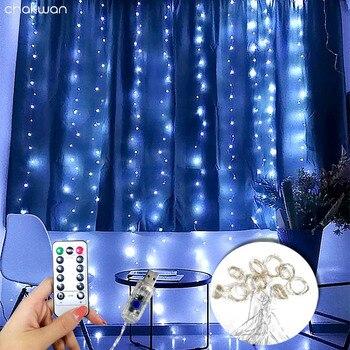 Гирлянда Фея шторы светильник свадебные светильник ing светодиодные полосы удаленных Управление Рождественский светильник новый год гирлянды светодиодные лампы вечерние украшения лампа Светодиодные ленты      АлиЭкспресс