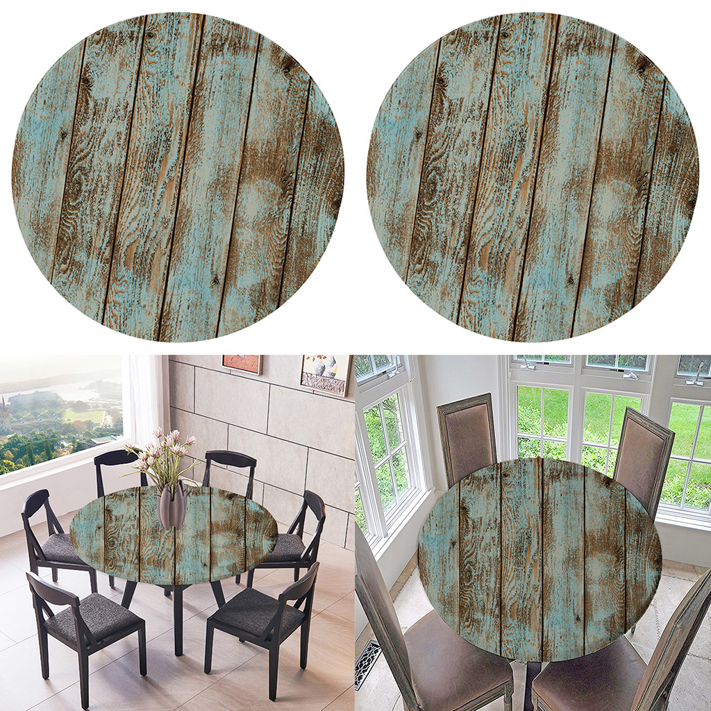 2pcs table cloth round 59 inch elastic edge fitted vinyl table cover rustic shabby wood grain pattern