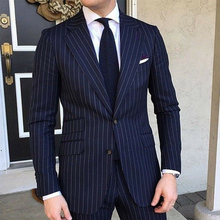 Men Suits Wedding Tuxedo Navy-Blue Pinstripe Formal Male Fashion 2piece Slim-Fit Business