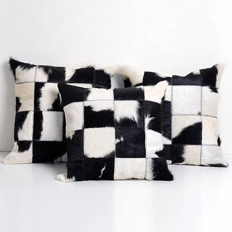 Black and White Cowhide Pillowcase Real Cow Leather Pillow Case 45x45cm