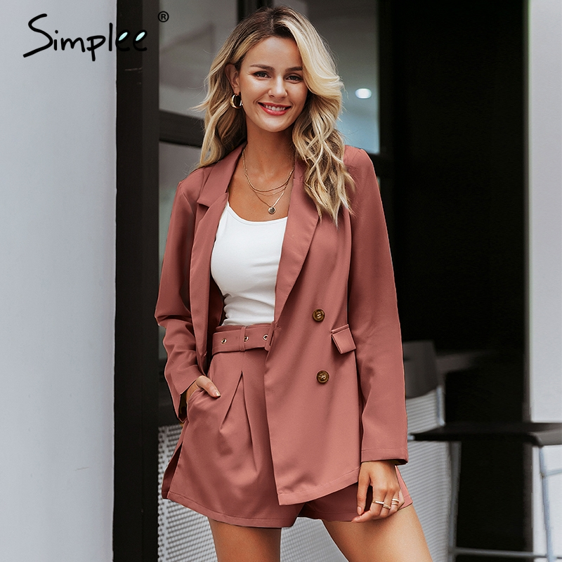 Simplee Elegant Two-piece Office Ladies Blazer Suits Buttons Pockets Sash Belted Women Shorts Suit Casual Streetwear Blazer Sets