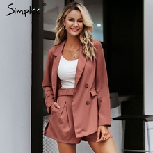 Simplee Elegant two piece office ladies blazer suits Buttons pockets sash belted women shorts suit Casual streetwear blazer sets