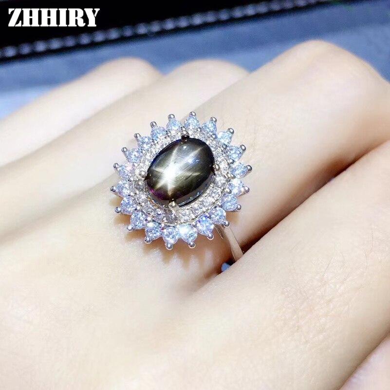 ZHHIRY véritable étoile naturelle saphir 925 en argent Sterling pour les femmes anneaux bague en pierres précieuses véritable précieux bijoux fins