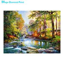 Stream forest scenery Diamond Painting Round Full Drill Scenic Nouveaute DIY Mosaic Embroidery 5D Cross Stitch home decor gifts(China)