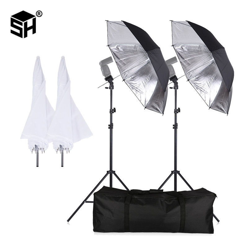SH Flash ShoeMount Kit para a fotografia com Suporte de Luz Giratória Guarda-chuva Macio e Suporte Tipo B